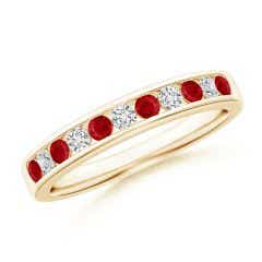 Channel Set Ruby and Diamond Semi Eternity Band