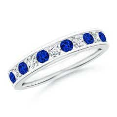 Channel Set Sapphire and Diamond Semi Eternity Band