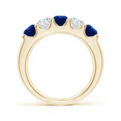 Toggle Shared Prong Sapphire and Diamond Half Eternity Band