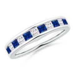 Channel Square Sapphire and Diamond Half Eternity Band