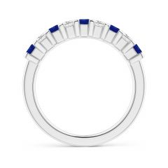 Toggle Blue Sapphire and Diamond Semi Eternity Classic Wedding Band