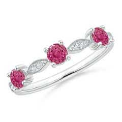 Pink Sapphire & Diamond Marquise and Dot Band