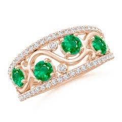 Nature Inspired Round Emerald & Diamond Filigree Band