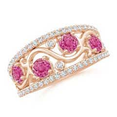 Nature Inspired Round Pink Sapphire & Diamond Filigree Band