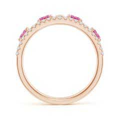 Toggle Nature Inspired Round Pink Sapphire & Diamond Filigree Band