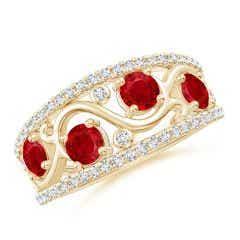 Nature Inspired Round Ruby & Diamond Filigree Band