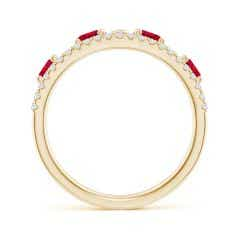 Toggle Nature Inspired Round Ruby & Diamond Filigree Band
