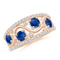 Nature Inspired Round Blue Sapphire & Diamond Filigree Band