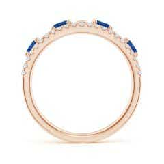 Toggle Nature Inspired Round Blue Sapphire & Diamond Filigree Band