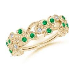 Nature Inspired Round Emerald & Diamond Vine Band