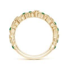 Toggle Nature Inspired Round Emerald & Diamond Vine Band
