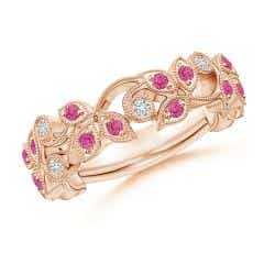 Nature Inspired Round Pink Sapphire & Diamond Vine Band
