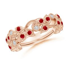 Nature Inspired Round Ruby & Diamond Vine Band