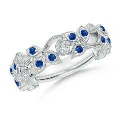 Nature Inspired Round Blue Sapphire & Diamond Vine Band