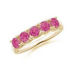 Half Eternity Five Stone Pink Sapphire Wedding Band