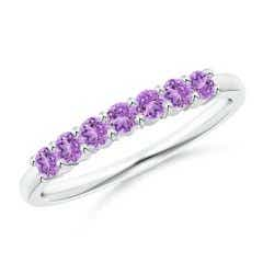 Half Eternity Seven Stone Amethyst Wedding Band
