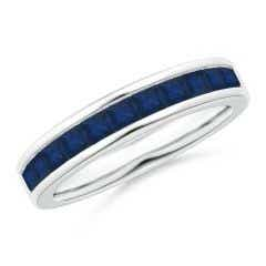 Channel Set Square Sapphire Half Eternity Band