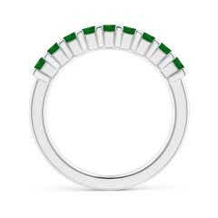Toggle Square Emerald Semi Eternity Classic Wedding Band