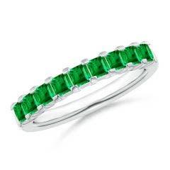 Square Emerald Semi Eternity Classic Wedding Band