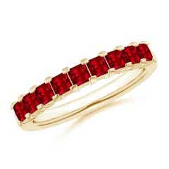 Square Ruby Semi Eternity Classic Wedding Band