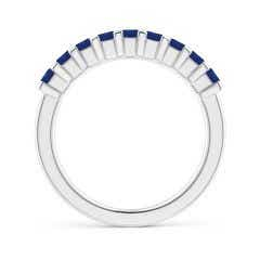 Toggle Square Blue Sapphire Semi Eternity Classic Wedding Band