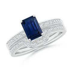 Emerald-Cut Blue Sapphire Bridal Set with Diamonds