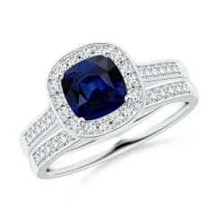 Classic Cushion Blue Sapphire Bridal Set with Diamonds