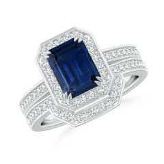 Emerald-Cut Sapphire Bridal Set with Diamond Accents