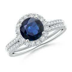 Blue Sapphire and Diamond Halo Comfort Fit Bridal Set