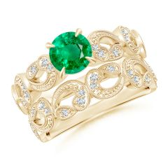 Nature Inspired Emerald & Diamond Filigree Bridal Set