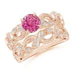 Nature Inspired Pink Sapphire & Diamond Filigree Bridal Set