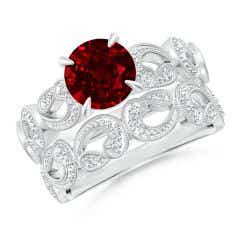 Nature Inspired Ruby & Diamond Filigree Bridal Set