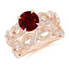 Nature Inspired Ruby & Diamond Filigree Bridal Set