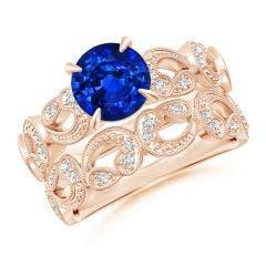 Nature Inspired Blue Sapphire & Diamond Filigree Bridal Set
