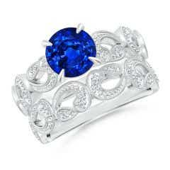 Nature Inspired Blue Sapphire & Diamond Filigree Bridal Set