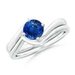 Round Blue Sapphire Bypass Bridal Set