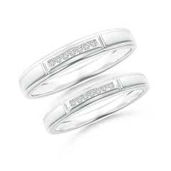 Vertical Grooved Diamond Half Eternity Band for Couple