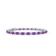 Classic Oval Amethyst and Diamond Tennis Bracelet