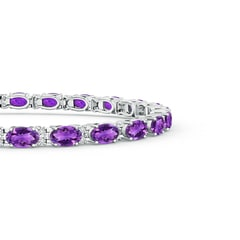 Toggle Classic Oval Amethyst and Diamond Tennis Bracelet