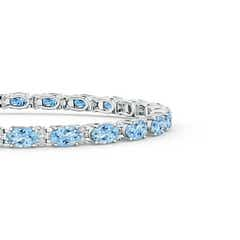Toggle Classic Oval Aquamarine and Diamond Tennis Bracelet