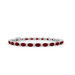 Classic Oval Garnet and Diamond Tennis Bracelet