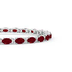 Toggle Classic Oval Garnet and Diamond Tennis Bracelet