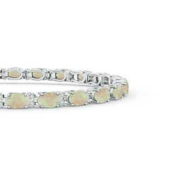 Toggle Classic Oval Opal and Diamond Tennis Bracelet