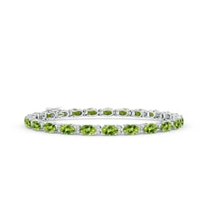 Classic Oval Peridot and Diamond Tennis Bracelet