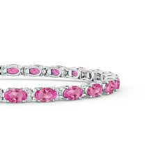 Toggle Classic Oval Pink Sapphire and Diamond Tennis Bracelet