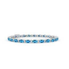 Classic Oval Swiss Blue Topaz and Diamond Tennis Bracelet