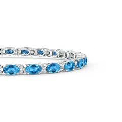 Toggle Classic Oval Swiss Blue Topaz and Diamond Tennis Bracelet