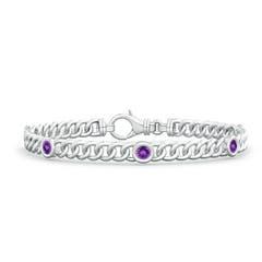 Bezel-Set Amethyst Curb Chain Link Bracelet