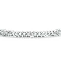 Toggle Bezel-Set Diamond Curb Chain Link Bracelet