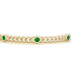 Toggle Bezel-Set Emerald Curb Chain Link Bracelet